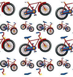 seamless pattern tile cartoon with bikes vector image