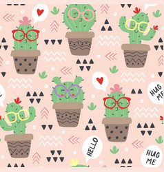 Seamless pattern with cartoon funny cactus vector