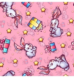 seamless pattern with cartoon rabbits and vector image