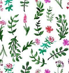 Seamless pattern with watercolor flowers on a vector