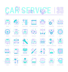 set blue line icons garage and car service vector image