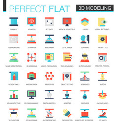set of flat 3d printing and modeling icons vector image