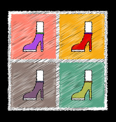 Set of flat shading style female heel silhouette vector