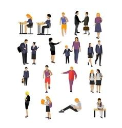set of pupils and teachers in school vector image