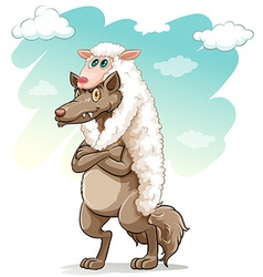 Sheep hugging the wolf vector image
