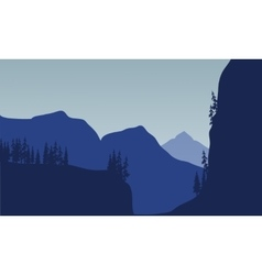 Silhouette of huge mountain and tree vector