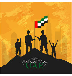 Silhouette soldiers holding a uae flag on top vector