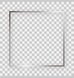 Silver shiny square frame with glowing effects vector