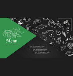 sketch cafe menu elements composition vector image