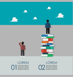 Smart people standing on a lot books vector