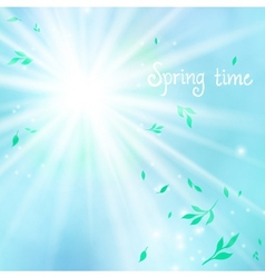 Spring card background with sun and leaves vector