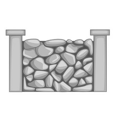stone fence icon monochrome vector image
