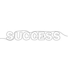 success - one continuous line design style vector image