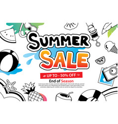 summer sale with doodle icon and design on white vector image