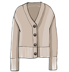Sweater with buttons and sleeves knitwear clothes vector