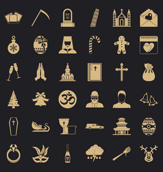 temple icons set simple style vector image