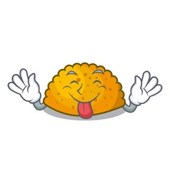 Tongue out homemade patties on the table cartoon vector