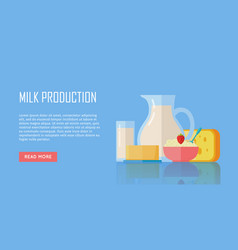 traditional dairy products from milk vector image