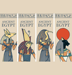 Travel banners with gods ancient egypt vector
