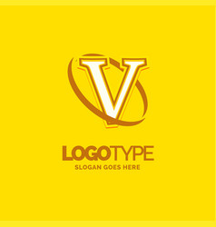 v logo template yellow background circle brand vector image