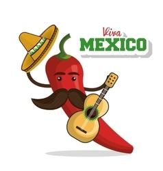 Viva mexico poster chili pepper icon vector