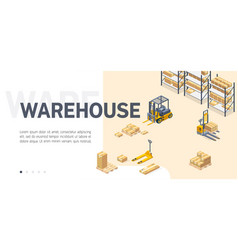 Warehouse service site isometric template vector
