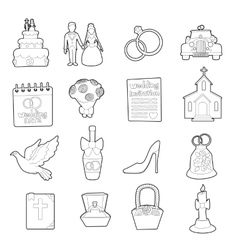 Wedding icons set ouline cartoon style vector