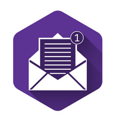 White received message concept envelope icon vector