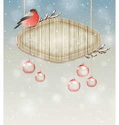 Winter background with bullfinch and decorations vector