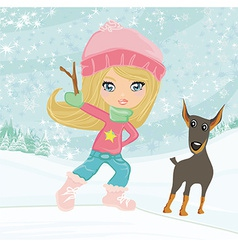 winter little girl and her dog vector image