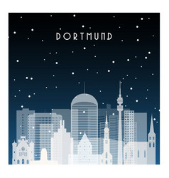Winter night in dortmund night city in flat style vector