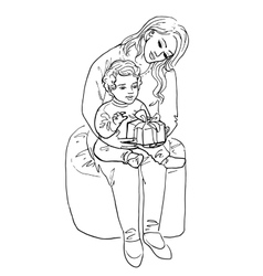 Woman and her baby with gift vector