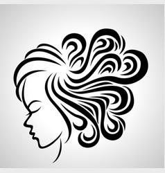 Women long hair style icon vector