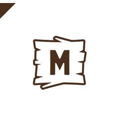 Wooden alphabet or font blocks with letter m vector