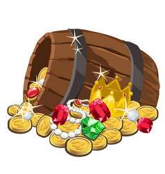 Wooden barrel with gold coins and precious stones vector