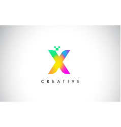 x colorful logo letter design creative rainbow vector image