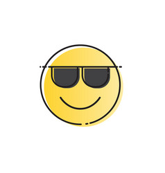 Yellow smiling cartoon face wear sunglasses vector