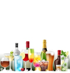 Alcohol cocktails and bottles vector image vector image