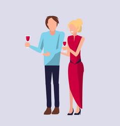 couple standing and drinking vector image vector image