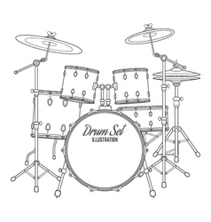 dark contour drum set technical vector image