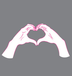 gesture female hands in the form of heart vector image vector image