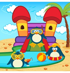 Penguins in aqua park vector