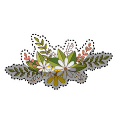 sticker of flowers crown with floral design and vector image