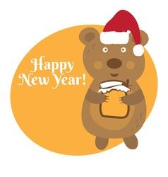 Cute cartoon bear in Santa Claus hat vector image vector image
