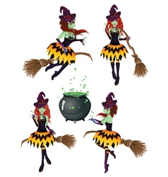 Dark Witch with Broom6 vector image