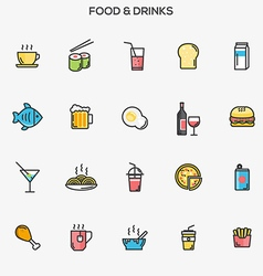 Flat line color icons food and drinks vector image vector image