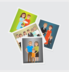 Happy family group portraits set vector