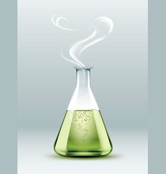 steaming laboratory flask vector image vector image