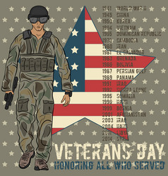 veterans day greeting card template vector image vector image