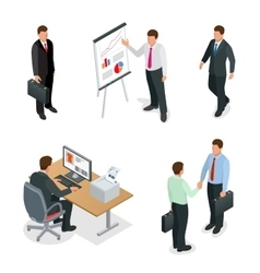 Business man isometric set Businessman isolated vector image vector image